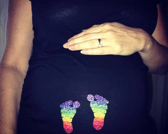 Rainbow Baby Maternity T-Shirt with Glitter Baby Feet | Pregnancy Shirt | Small Thru Plus Size Maternity
