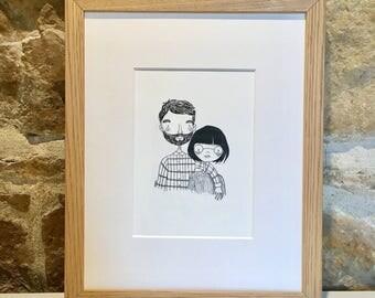 GASPARD & ELODIE - couple Portrait - original Illustration - loving Couple - hand drawing