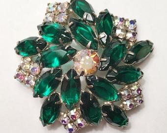 Beautiful 'JULIANA' Green & Aorura Borealis Rhinestone on Gold Brooch
