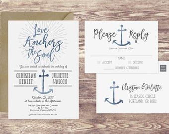 The Love Anchors the Soul Wedding Invitation and RSVP Postcard, Nautical Wedding Invitation, Anchor Wedding Invite, Customized Invitation
