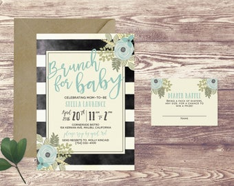 Brunch for Baby Shower Invitation with Diaper Raffle Card, Floral Baby Shower Invite, Baby Sprinkle, Couples Baby Shower Invitation