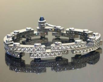 18K White Gold Modern Diamond Bracelet - 18K Gold Diamond Biker Bracelet - White Gold Diamond Gold Link Bracelet - 18K Diamond Bracelet