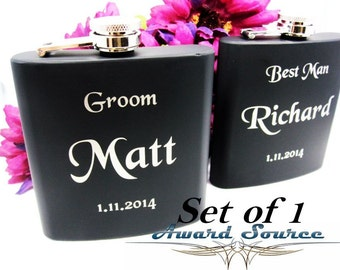 Matte Black Flask Personalized Engraved with Monogram Gifts for Men Under 20, Set of 1 Personalized Hip Flask, Great Groomsmen Gifts
