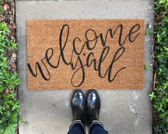 "Hand painted, Custom Coir Front Door Welcome Mat | ""Welcome Y'all"" 