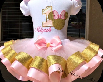 Minnie Mouse pink and gold Tutu set  (Ribbon Trim)