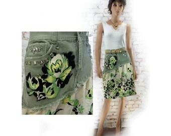 upcycled green skirt -  upcycled denim skirt - denim jean skirt ,green  Boho skirt - alternative skirt - green denim skirt - Size 6  # 188