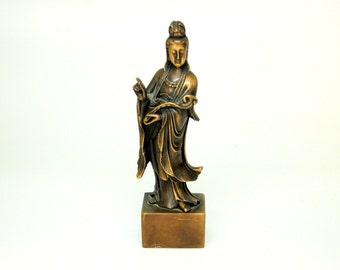 Vintage Brass Chinese Guan Yin Figurine