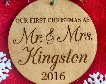 Our First Christmas as Mr. and Mrs. Ornament - Personalized Wood Ornament, Just Married, First Married Christmas, Wedding Gift, Last Name Or