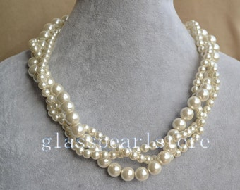 ivory pearl Necklaces,Twist Glass Pearl Necklace,Triple strand Pearl Necklace,Wedding Necklace,bridesmaid necklace,statement necklace