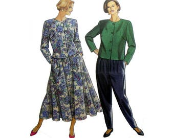 Women's Elastic Waist Pants, Midi Skirt and Button Front Top Sewing Pattern Misses Size 8, 10, 12, 14, 16, 18, 20 Uncut Simplicity 8062