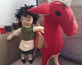 12 inch handmade Chinese boy doll with red dragon friend.