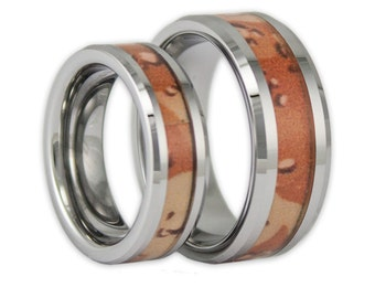 couples camo tungsten wedding ring set his and hers matching desert camo bands with engraving - Orange Camo Wedding Rings