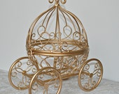 Cinderella Coach Centerpiece, Gold Wire Cinderella Carriage, Fairytale Wedding Centerpiece, Gold Baby Shower, Princess Party, Quinceañera