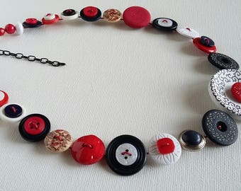 Button Necklace, Button Jewellery, Statement Necklace, Red Necklace, Navy Necklace, Unique Necklace, Handmade Necklace, Quirky Necklace