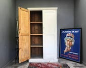 Stunning Antique Pine Wardrobe  Vintage Retro School Cupboard Larder Bookcase