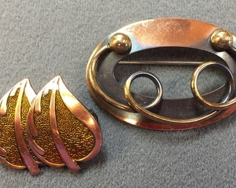 Two Mid Century Artisan Copper Brooches-One With Enamel.  Free shipping