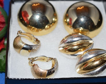 Vintage Gold Earrings, Lot of 3 pairs. Huge Round Dome, swirl,and Brushed, Gold Tone clip  Earrings  ships in 24 Hrs