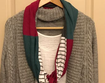 Upcycled T-Shirt Infinity Scarf, T-Shirt Scarf