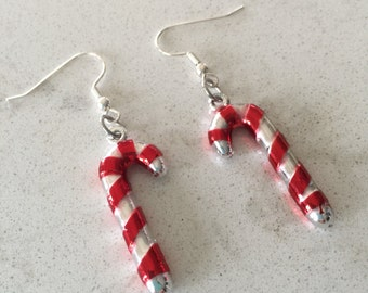 Candy Cane Sterling Silver Earrings. Candy Cane Red 37mm Charm. Christmas Earrings. Nickel Free. Vintage Style