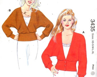 "SALE** Kwik Sew 3435, Sz XS-XL/Bust 31.5-45"". Ladies V-neck Dolman Sleeve Knit Top/Cardigan, Uncut Misses sewing pattern"