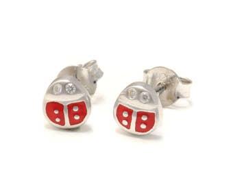 Ladybug Stud Earrings 925 sterling silver