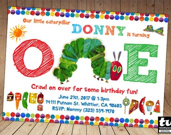 Very Hungry Caterpillar Invitations - ONLY for age 1