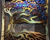 Wind Swept Oak Tree Metal Wall Art
