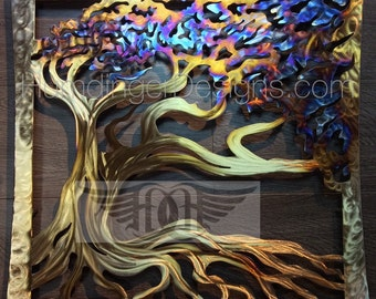 Wind Swept Oak Tree Metal Wall Art