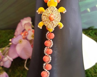 Turtles in yellow and coral with crystals, Barefoot, Sandals, wedding,beach, bridal,