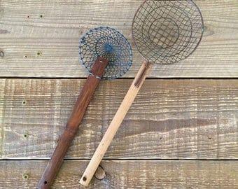 Pair of Vintage Wood Handle Strainers