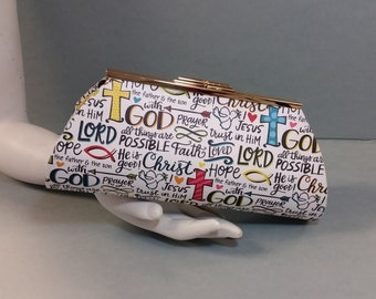 Paper Clutch. He is Good. I Love Jesus. Faith Words on a White Ground. Gold Metal Purse Clasp. From Conserving Threads.