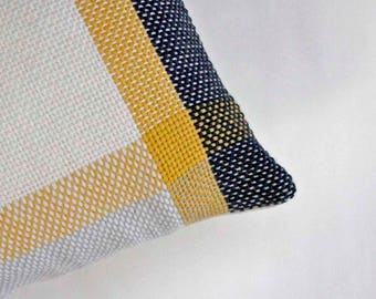 Yellow and Black Pillow, Handwoven Wool and Cotton Pillow, Modern Pillow, Woven Pillow, Spring Pillow Decor, Throw Pillow, Striped Pillow
