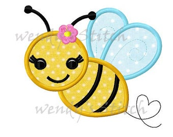 Flower bumble bee applique machine embroidery design instant download