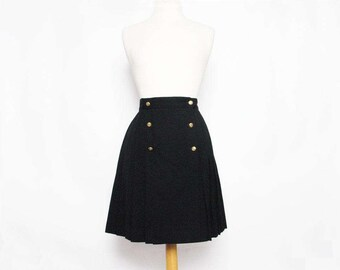 vintage 90s black pleated military style double button boho skirt