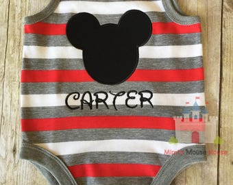 Mickey Silhouette on a Red, White, and Grey Striped Tank Romper. Inspired by Mickey Mouse and Disney.