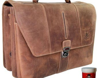 Large briefcase BRECHT brown ECO-leather