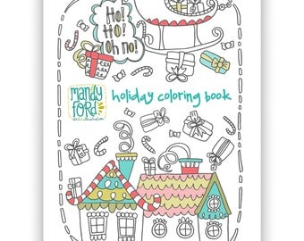 PRINTABLE Christmas Coloring Book Holiday Coloring Pages Adult Coloring Book Printable Coloring Pages