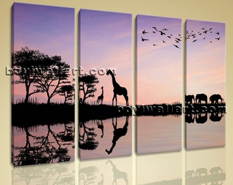 Large Wild Animals Landscape Contemporary On Canvas Print Artwork Four Pieces, Large Africa Sunset Wall Art, Living Room, Lola