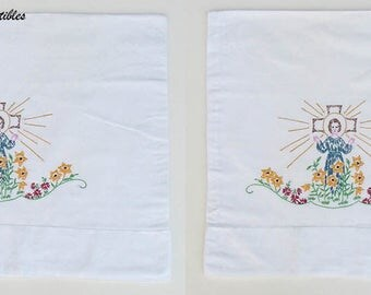 Vintage Religious Theme Hand Embroidered Pillowcase Pair (Inventory #M2303)