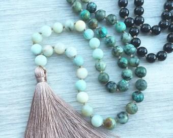 Shore Break Mala ~ Amazonite, African Turquoise & Obsidian ~ 108 bead, hand knotted, tassel necklace, chakra, yoga necklace, meditation bea