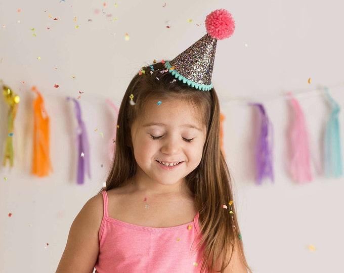 Glittery birthday Hat    Party Hat    30th Birthday    1st Birthday    2nd Birthday    Child Birthday Party