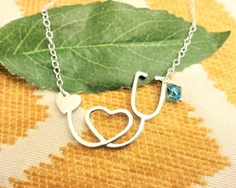 NURSE STETHOSCOPE NECKLACE w birthstone or pearl - measures 1-1/2 inches by 1 inch -choice of chains