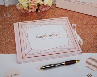 Rose Gold foiled wooden wedding guest book.