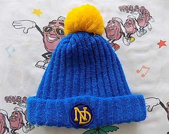 Vintage 70's Notre Dame roll up Pom Beanie, Adult Size University