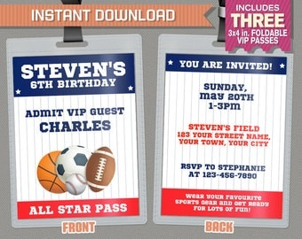All Star Sports VIP Pass Birthday Party Invitations - INSTANT DOWNLOAD - All Star Party Vip Pass - Edit and print at home with Adobe Reader!