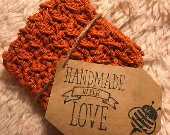 Crocheted Burnt orange washcloth, dishcloth