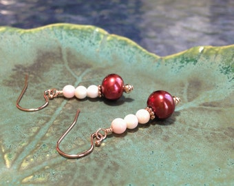 Petite Red Pearl Earrings, Pearl and Shell Earrings, Glowing Red, Pink and Rose Gold Earrings, June Birthstone Gift, River of Beauty Designs