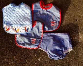 New old stock 1970s baby bib and diaper cover, baby clothes, baby bib, western baby clothes, cow, 1976, bicentennial