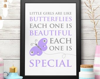 Butterfly Nursery Art Butterfly Quote Print Purple Nursery Baby Shower Gift for Her Butterfly Printable Instant Download Digital Download