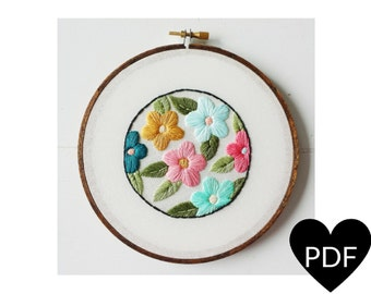 Retro Floral Embroidery Pattern, PDF Pattern, Vintage Inspired Flowers, Hand Embroidery Pattern, Instant Download PDF, Printable Pattern